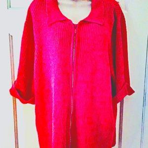 💗 QUACKER FACTORY 3X/pink zip front sweater 💗